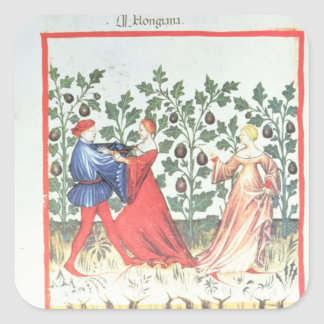 Dancers in front of Broom Plants, 13th century Square Sticker
