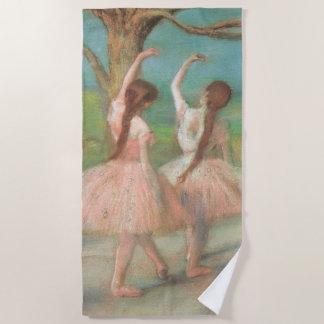 Dancers in Pink by Edgar Degas, Vintage Ballet Art Beach Towel