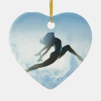 Dancer's Leap Ceramic Heart Ornament