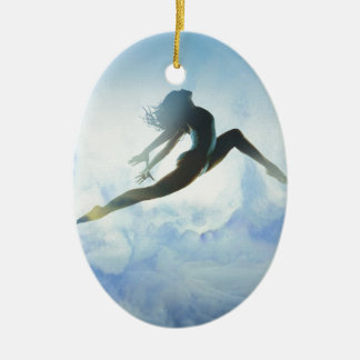 Dancer's Leap Ceramic Oval Ornament