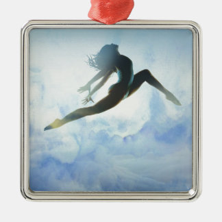 Dancer's Leap Silver-Colored Square Ornament