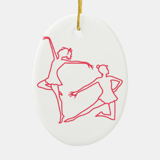 Dancers Outline Ceramic Oval Ornament