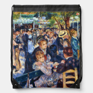 Dancing at Le Moulin de la Galette Renoir Fine Art Drawstring Bags