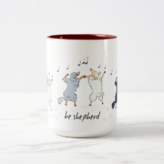 Dancing Australian Shepherds and Sheep Two-Tone Coffee Mug