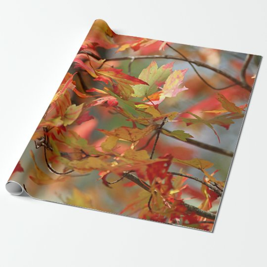 Dancing autumn leaves wrapping paper