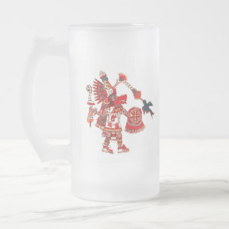 Dancing Aztec shaman warrior Frosted Glass Beer Mug