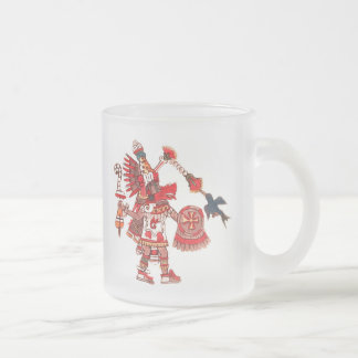 Dancing Aztec shaman warrior Frosted Glass Coffee Mug