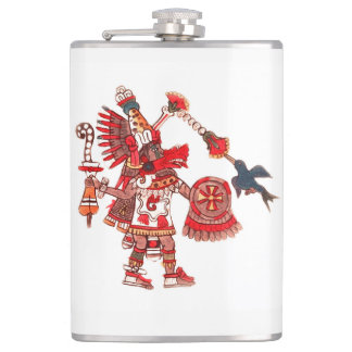 Dancing Aztec shaman warrior Hip Flask