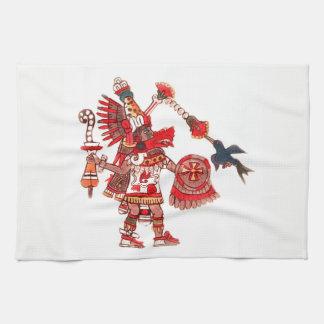 Dancing Aztec shaman warrior Kitchen Towel