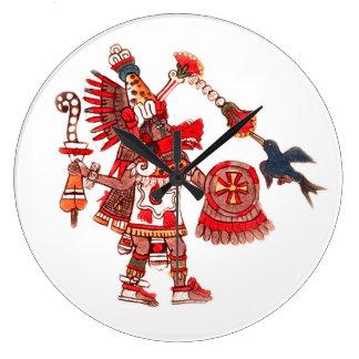 Dancing Aztec shaman warrior Large Clock