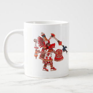 Dancing Aztec shaman warrior Large Coffee Mug