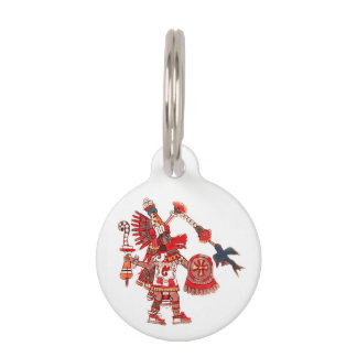 Dancing Aztec shaman warrior Pet ID Tag