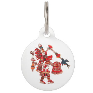 Dancing Aztec shaman warrior Pet Name Tag