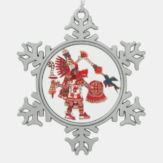Dancing Aztec shaman warrior Pewter Snowflake Ornament