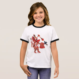 Dancing Aztec shaman warrior Ringer T-Shirt
