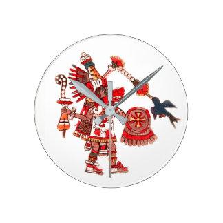 Dancing Aztec shaman warrior Round Clock