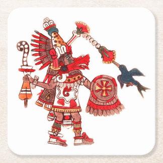 Dancing Aztec shaman warrior Square Paper Coaster