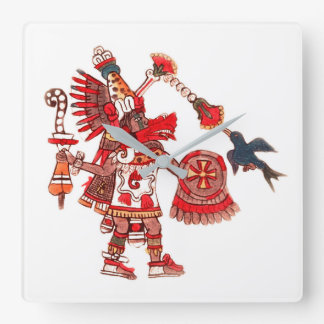 Dancing Aztec shaman warrior Square Wall Clock