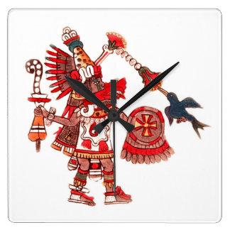 Dancing Aztec shaman warrior Square Wall Clock