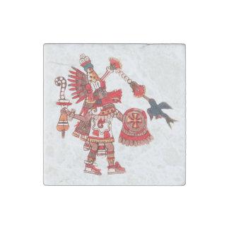 Dancing Aztec shaman warrior Stone Magnets