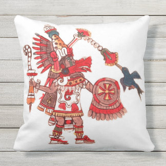 Dancing Aztec shaman warrior Throw Pillow