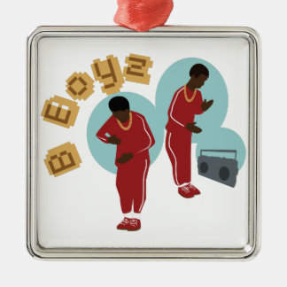Dancing B Boyz Silver-Colored Square Ornament