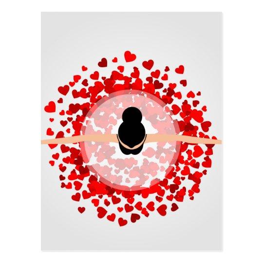 dancing ballerina wearing red heart dress postcard