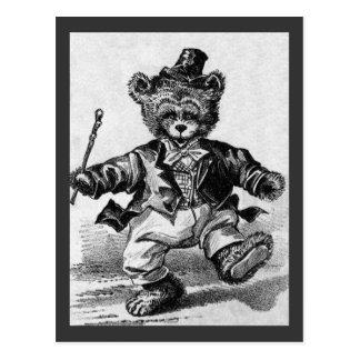 Dancing Bear Pat - Letter D - Vintage Teddy Bear Postcard