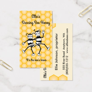 Dancing bee honey business card