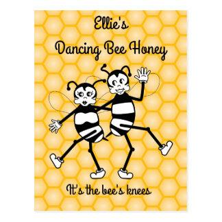 Dancing bee honey promotional postcard