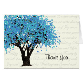 Dancing Blooms Blue Tree Thank You Card