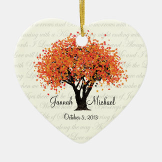 Dancing Blooms Wedding Photo Ceramic Heart Ornament