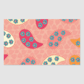 Dancing Boho Paisley Rectangle Stickers