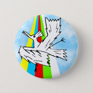 Dancing Brolly Bird on a Rainbow 2 Inch Round Button
