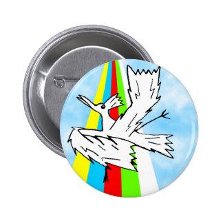 Dancing Brolly Bird on a Rainbow 2 Inch Round Button