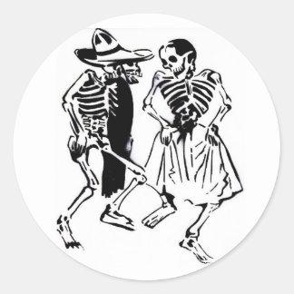 Dancing Calaveras Classic Round Sticker