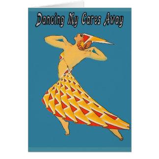 Dancing Cares Away Retro Card