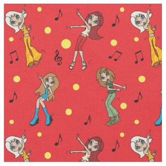 Dancing Cartoon Girls Fabric