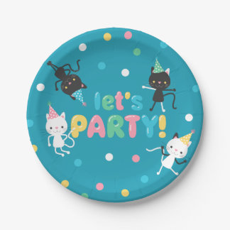 Dancing Cats & Confetti Kids Birthday Party Paper Plate