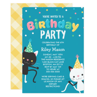 Dancing Cats Kids Birthday Party Card