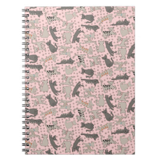 Dancing Cats With Paw Prints Spiral Notebook