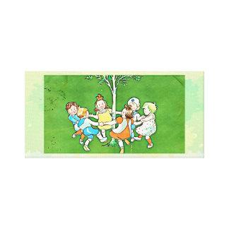 Dancing children canvas print - vintage, green