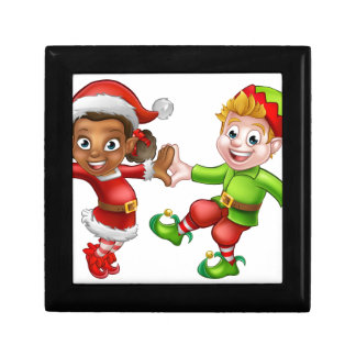 Dancing Christmas Elves Keepsake Box