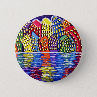 Dancing City Folk Art Cityscape 2 Inch Round Button