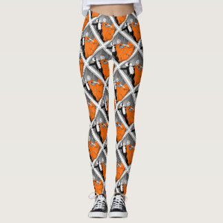 Dancing Couple Ballroom Retro Print Leggings