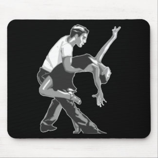 Dancing Couple Black, White and Gray Mouse Pad