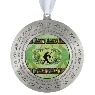 Dancing couple with roses on green background pewter ornament