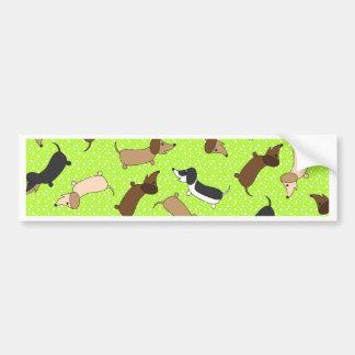 Dancing Dachshunds (Lime Green) Bumper Sticker