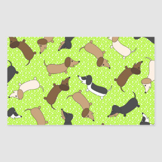 Dancing Dachshunds (Lime Green) Stickers