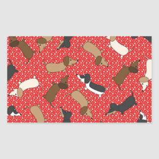 Dancing Dachshunds (Red) Stickers